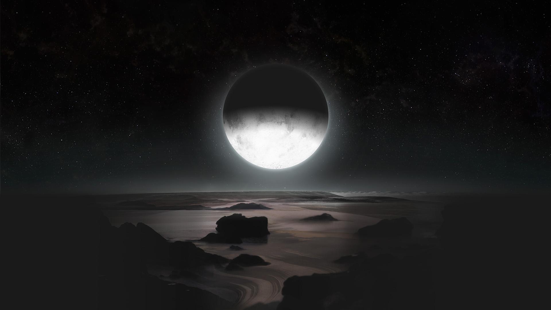 صورة لبلوتو تحت ضوء القمر شارون